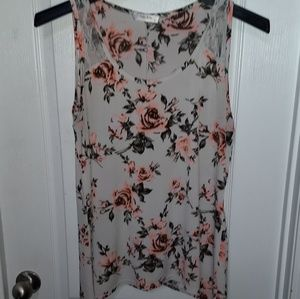 Tops - Floral Tank Blouse With Lace Size XL